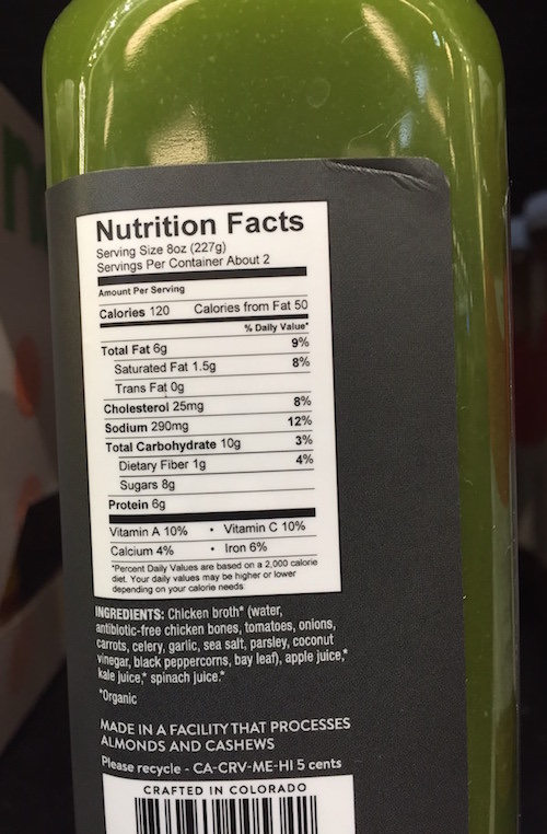 Nutrition Facts of Pressery bone broth
