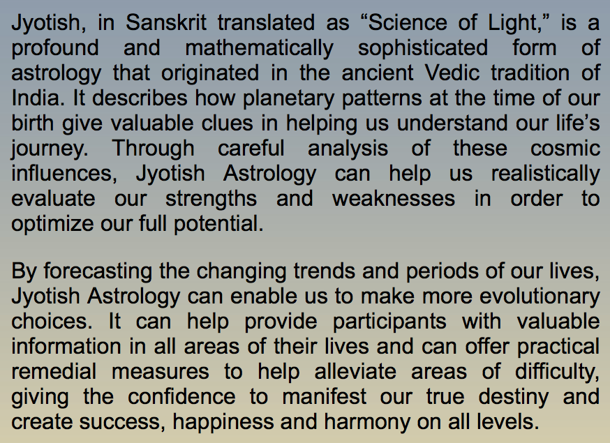 On Jyotish Astrology
